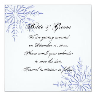 """Blue Snowflake Wedding Save the Date Announcement 5.25"""" Square Invitation Card"""