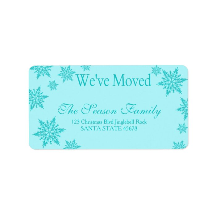 blue snowflake we 39 ve moved christmas label zazzle. Black Bedroom Furniture Sets. Home Design Ideas