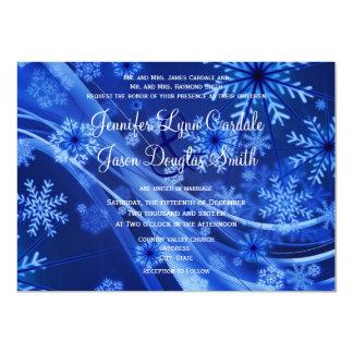 Blue Snowflake Winter Christmas Wedding Invitation