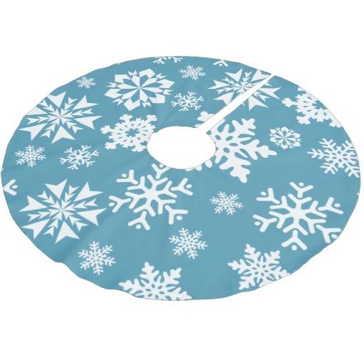 blue snowflake winter tree skirt zazzle