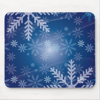 blue snowflake winter pattern mouse pad