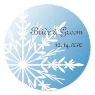 Blue Snowflake Winter Wedding Envelope Seals Sticker