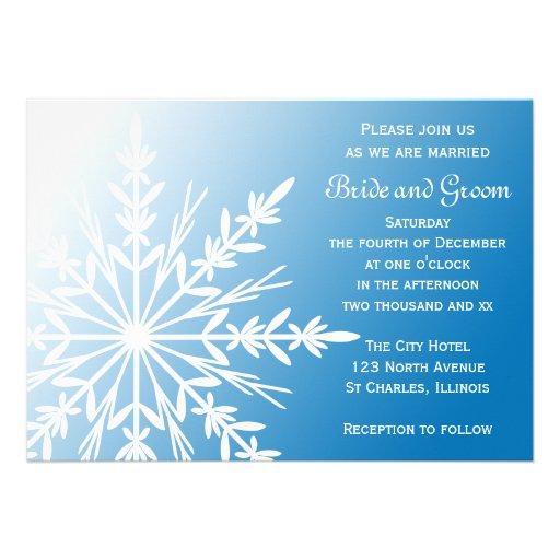 Blue Snowflake Winter Wedding Invitation