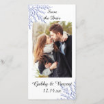 """Blue Snowflake Winter Wedding Save the Date<br><div class=""""desc"""">Announce your upcoming December,  January or February winter wonderland theme nuptials with the festive Blue Snowflake on White Winter Wedding Save the Date Photo Card. This wintery custom marriage keep the date photocard features an intricate snowflake design with a blue tint and white background.</div>"""