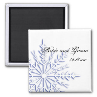 Blue Snowflake Winter Wedding Save the Date Magnet