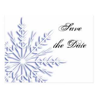 Blue Snowflake Winter Wedding Save the Date Postcard