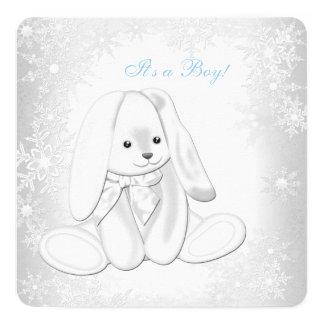Blue Snowflake Winter Wonderland Baby Boy Shower Custom Invitations