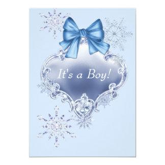 blue snowflake winter wonderland baby shower card