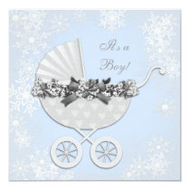 Blue Snowflake Winter Wonderland Baby Shower Card