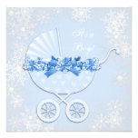 Blue Snowflake Winter Wonderland Baby Shower Personalized Invitations