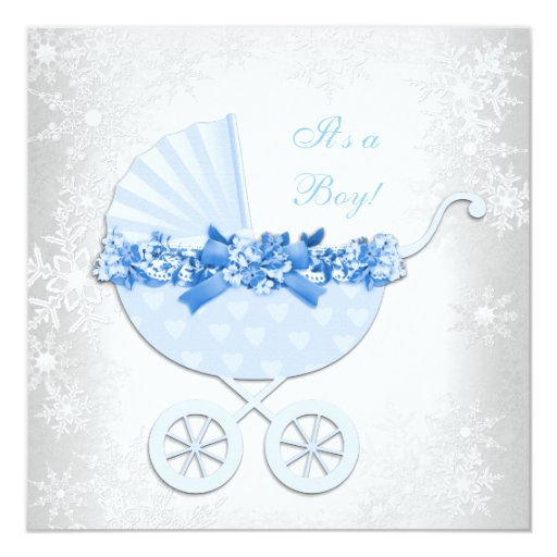 blue snowflake winter wonderland baby shower custom invitations