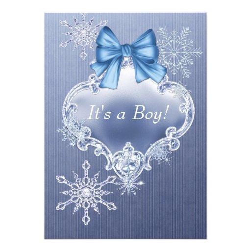 blue snowflake winter wonderland baby shower 5x7 paper invitation card