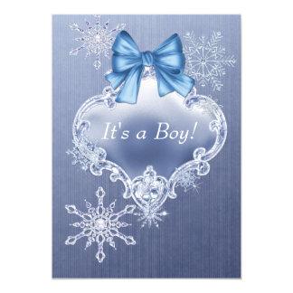 "Blue Snowflake Winter Wonderland Baby Shower 5"" X 7"" Invitation Card"