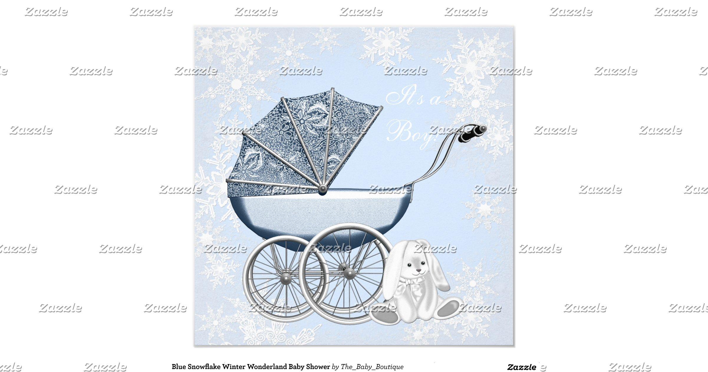 blue snowflake winter wonderland baby shower invitation