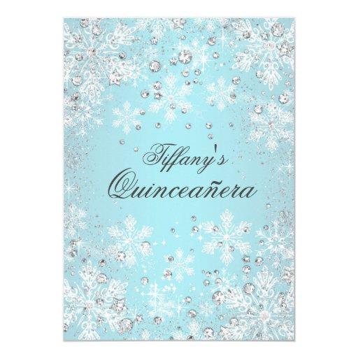 Blue Snowflake Winter Wonderland Quinceanera 5x7 Paper Invitation Card