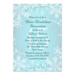 Blue Snowflake Winter Wonderland Quinceanera Personalized Invitations