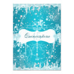 Blue Snowflake Winter Wonderland Quinceanera Customized Announcement Cards