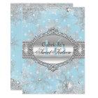 Blue Snowflake Winter Wonderland Sweet 16 Invite