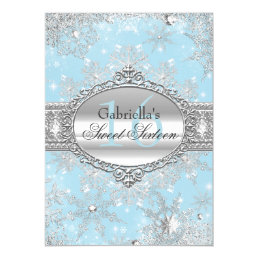 Blue Snowflake Winter Wonderland Sweet 16 Invite