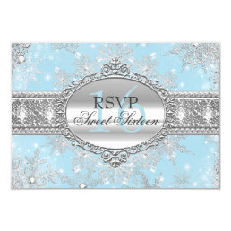 Blue Snowflake Winter Wonderland Sweet 16 RSVP Card