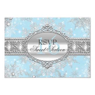 Blue Snowflake Winter Wonderland Sweet 16 RSVP 3.5x5 Paper Invitation Card