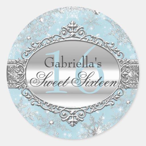 Blue Snowflake Winter Wonderland Sweet 16 Sticker