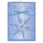 Blue Snowflake with FAUX Ribbon Thank You Card Greeting Card