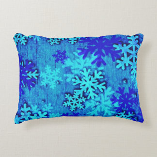 Blue Snowflakes Accent Pillow