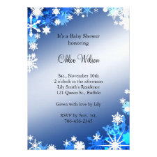 Blue Snowflakes Baby Shower Invitation
