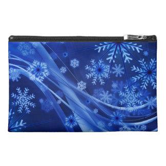 Blue Snowflakes Travel Accessories Bag