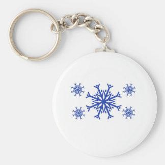 Blue Snowflakes Basic Round Button Keychain
