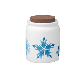 Blue Snowflakes Candy Jar