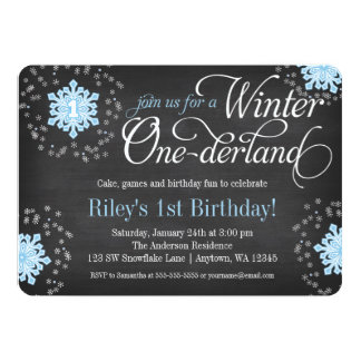 Blue Snowflakes Chalkboard Winter Onederland 5x7 Paper Invitation Card