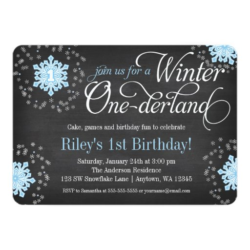 Blue Snowflakes Chalkboard Winter Onederland Personalized Invitations