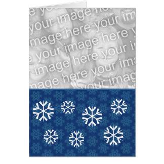 Blue Snowflakes Christmas Custom Photo Card