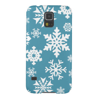 Blue Snowflakes Christmas Holiday Winter Pattern Galaxy S5 Case