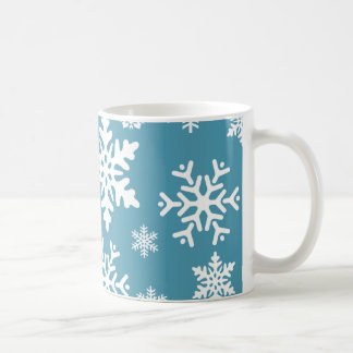 Blue Snowflakes Christmas Holiday Winter Pattern Coffee Mug