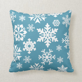 Blue Snowflakes Christmas Holiday Winter Pattern Pillows