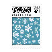 Blue Snowflakes Christmas Holiday Winter Pattern Postage