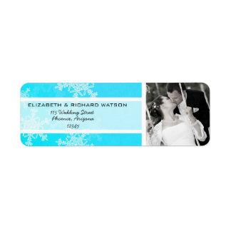 Blue Snowflakes Christmas Wedding Label