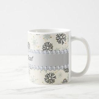 Blue Snowflakes Gold Stars Silver Diamonds Coffee Mug