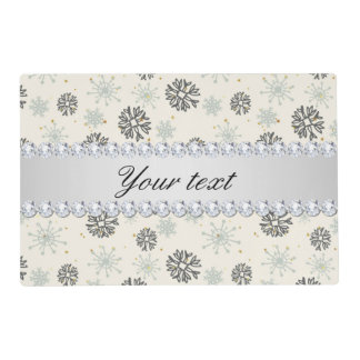 Blue Snowflakes Gold Stars Silver Diamonds Placemat
