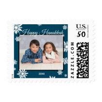 Blue Snowflakes Hanukkah - Postage Stamp