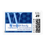 Blue Snowflakes Holiday Any Monogram W Family C620 Postage Stamps