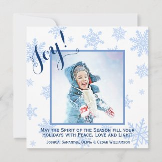 Blue Snowflakes Holiday Joy Square Photo Card