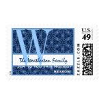 Blue Snowflakes Holiday Monogram W Family Joy Postage Stamp