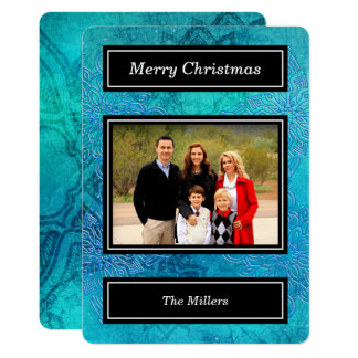 Blue Snowflakes - Holiday Photo Card Template