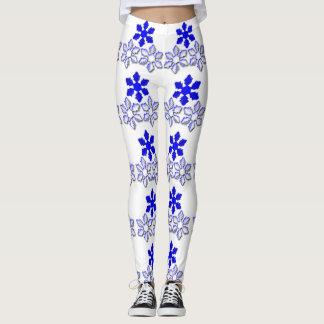 Blue Snowflakes Leggings