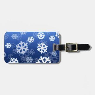 Blue Snowflakes Luggage Tag