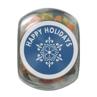 Blue Snowflakes Medallion Holiday Candy Tin